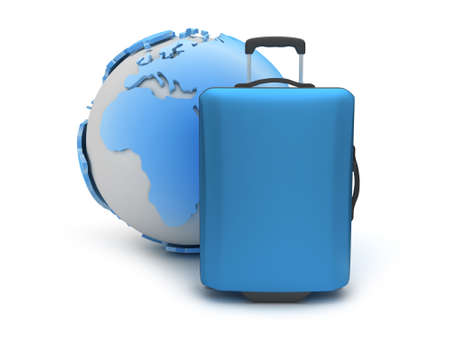 recess: Earth globe and suitcase as travel symbols