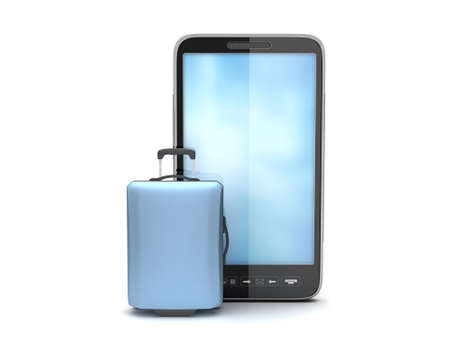 Cell phone and travel bag on white background Stock Photo