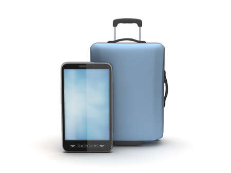 Smartphone and blue suitcase on white background photo
