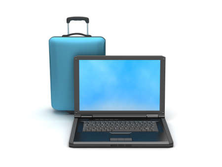 Laptop and travel bag on white background