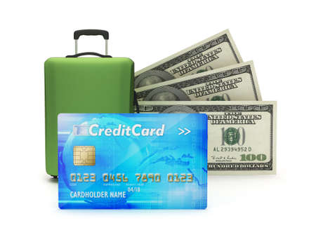 Credit card, travel bag and dollar bills photo