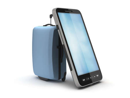 recess: Luggage and smartphone on white background