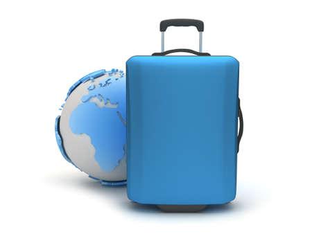 Travel luggage on white background Stock Photo