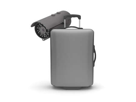 Suitcase and security cam on white background photo
