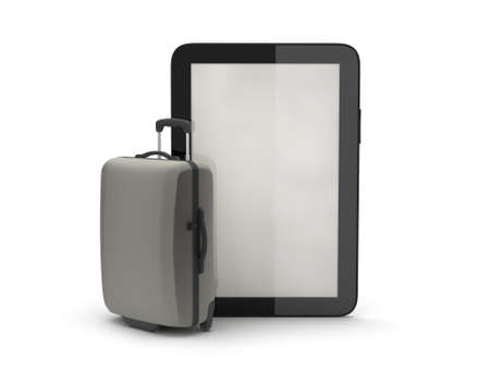 Luggage and tablet computer on white background photo