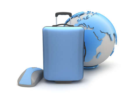 Suitcase, computer mouse and earth globe on white background photo