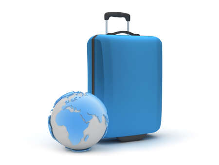 Travel symbols - earth globe and baggage photo