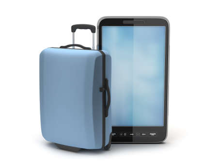 Suitcase and cell phone on white background photo