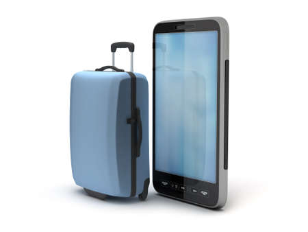 Cell phone and travel bag on white background photo