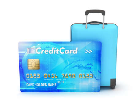 Credit card and suitcase on white background photo