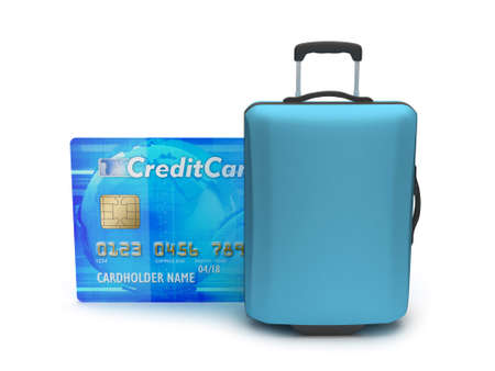 Travel bag and credit card on white background photo