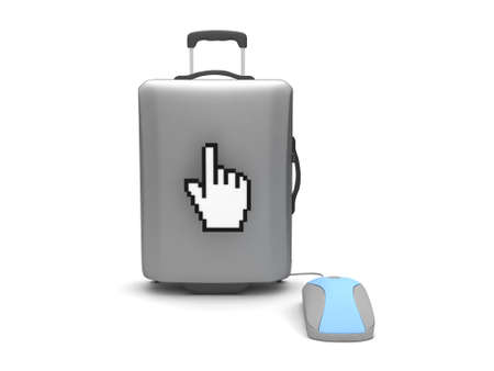 Travel bag, computer mouse and cursor hand on white background photo