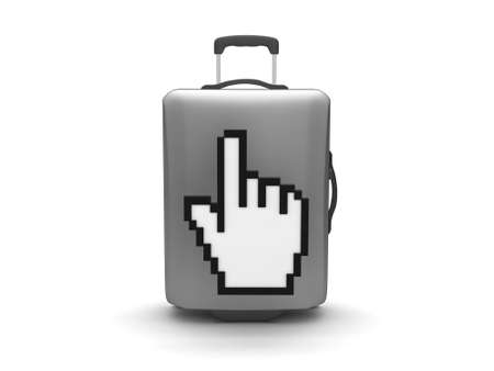 recess: Suitcase and hand cursor on white background Stock Photo