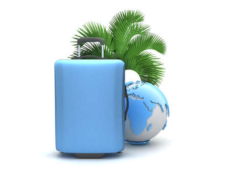 recess: Travel bag, palm tree and earth globe isolated on white Stock Photo