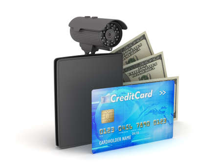 Credit card, dollar bills, wallet and monitoring camera photo