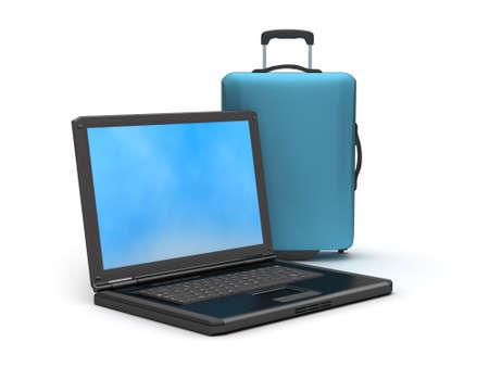 Suitcase and laptop on white background Stock Photo