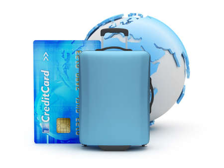 packed: Suitcase, credit card and earth globe Stock Photo