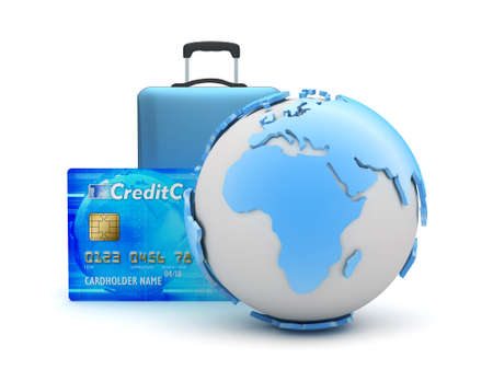Earth globe, travel bag and credit card photo