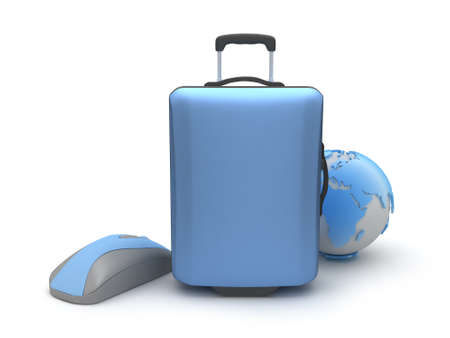 recess: Suitcase, computer mouse and earth globe on white background Stock Photo