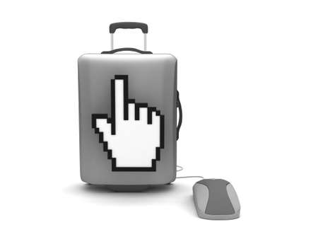 recess: Travel bag, computer mouse and cursor hand on white background Stock Photo