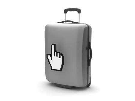 Suitcase and hand cursor on white background Stock Photo