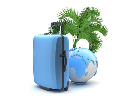 Travel bag, palm tree and earth globe isolated on white photo