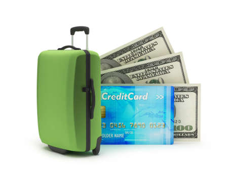 Travel bag, dollar bills and credit card on white background photo