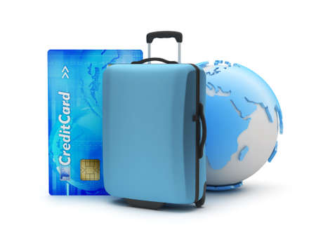Suitcase, credit card and earth globe Stock Photo