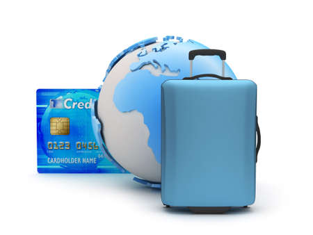 Baggage, credit card and earth globe photo