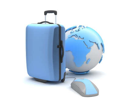 recess: Travel bag, earth globe and computer mouse Stock Photo
