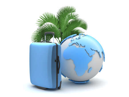 Travel luggage, palm tree and earth globe photo