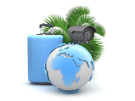 recess: Suitcase, monitoring camera, palm tree and earth globe Stock Photo