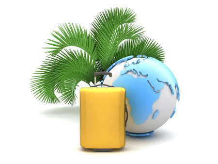 recess: Palm tree, suitcase and earth globe on white background