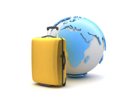recess: Suitcase and earth globe on white background Stock Photo