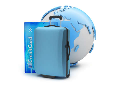 recess: Suitcase, credit card and earth globe Stock Photo