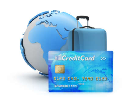 pay for: Pay for travel by credit card - concept illustration