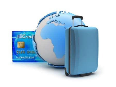 Baggage, credit card and earth globe photo