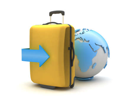 recess: Earth globe and travel bag on white background