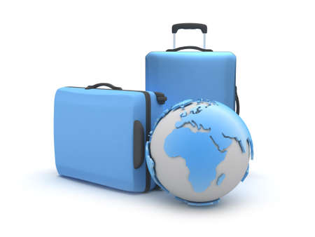 recess: Two suitcases and earth globe on white background