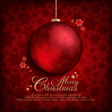 xmass: Christmas bauble on patterned background