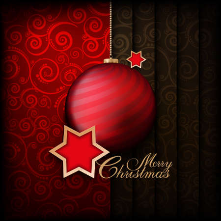 Christmas background - bauble and stars Vector