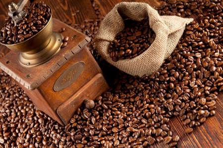 winnower: Coffee beans and coffee grinder Stock Photo