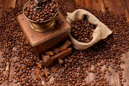 winnower: Coffee beans and old grinder