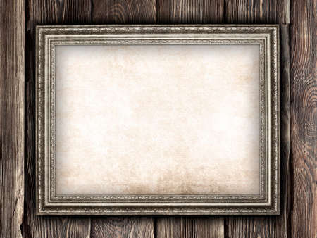 Old paper sheet in picture frame Stock Photo