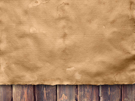 creased: Creased sheet of handmade paper on wooden wall background