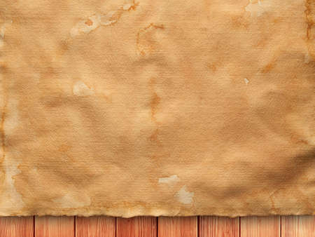 creased: Creased paper sheet on wooden wall background