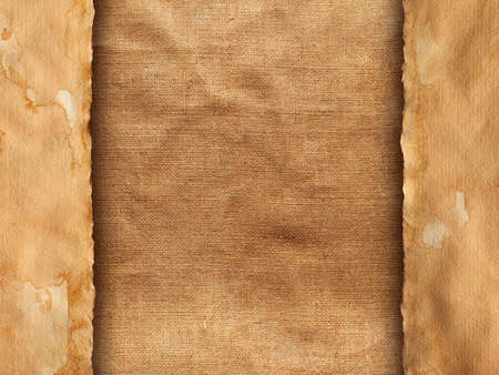 creased: Old handmade paper sheet on creased fabric background Stock Photo