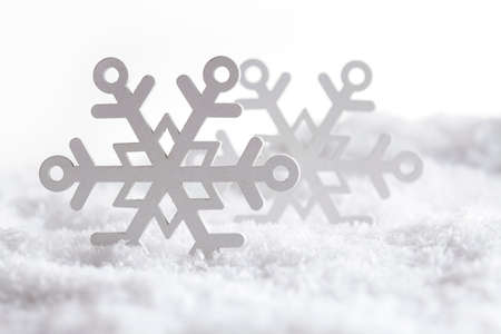 goodies: Christmas background - snowflakes on snow and white background