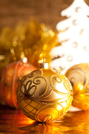 goody: Christmas baubles on shining background