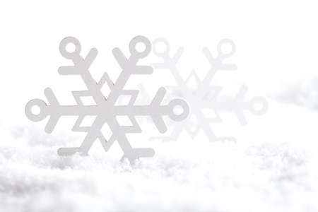 goody: Christmas background - snowflakes on snow and white background